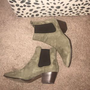 Sam Edelman green suede Reese pull up ankle boot
